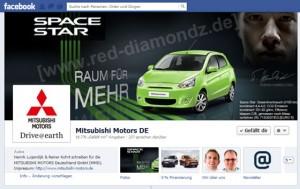 """Unter dem Motto """"Raum für Mehr"""" präsentiert sich die Facebook-Fanpage von Mitsubishi Motors Deutschland (MMD)."""